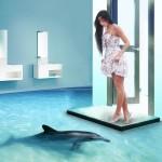 девушка и изображение дельфина на наливном полу
