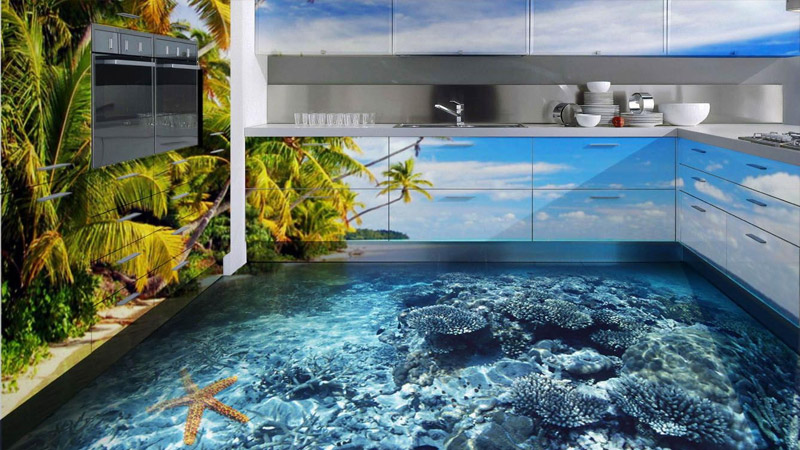 Правильный выбор линолеума на кухню: наливной 3D линолеум