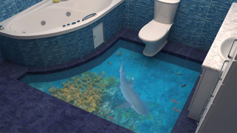 Качественный наливной пол в ванной комнате
