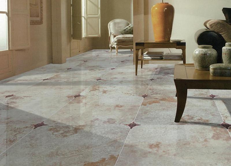 Характерные для мрамора разводы на плитке придают интерьеру изысканность и легкость