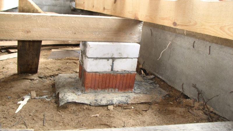 Обустройство деревянного пола на столбиках