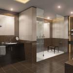 Оригинальные дизайнерские решения с напольной плиткой для ванной комнаты